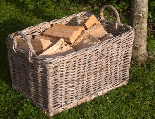 rectangular rattan log basket