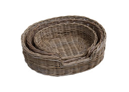 grey rattan dog baskets