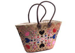 Pink Embroidered French Market Basket