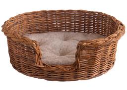 Rattan Dog Basket with Fleece Cushion