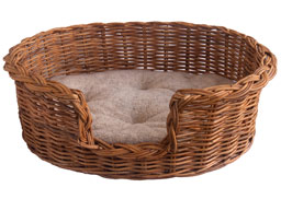 rattan dog basket with fleece cushion