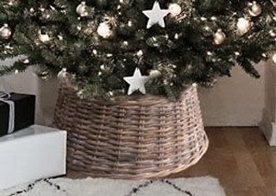Elegant Christmas Tree Skirts.Wicker Christmas Tree Skirt