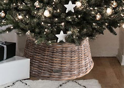 Grey Whitewash Wicker Christmas Tree Skirt Or Stand Cover In 3 Sizes