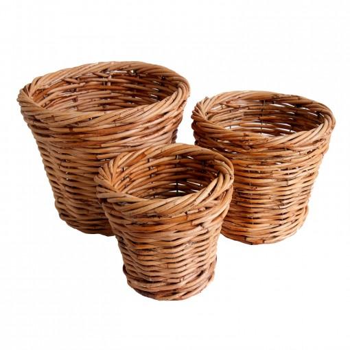 3 wicker plant pot holders