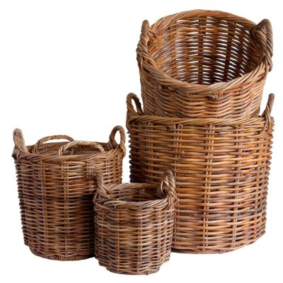Set of 5 Wicker Planters