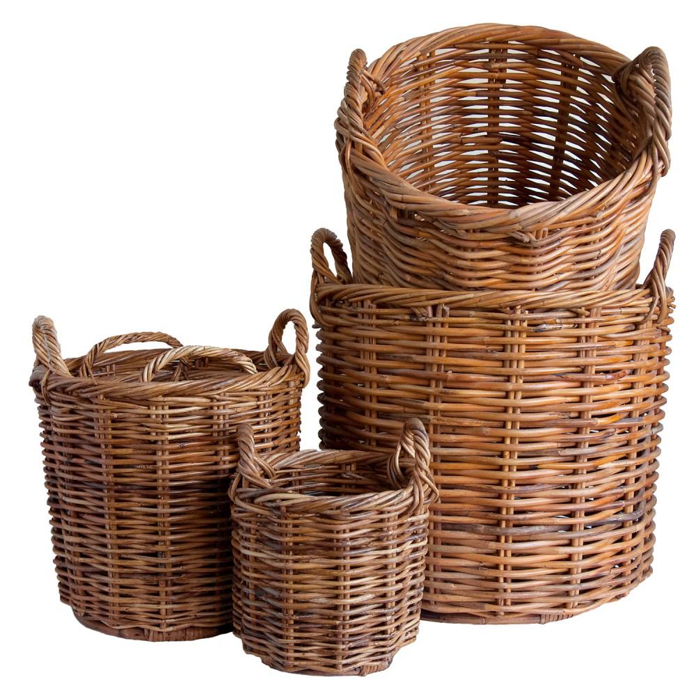 Set of 5 Wicker Planters