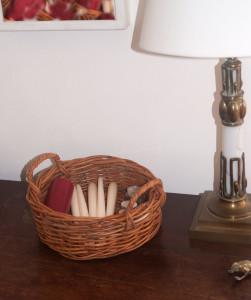 small round wicker basket