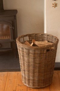 Tall Round Greywash Log Basket
