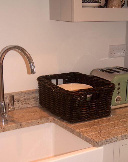 black wicker storage basket