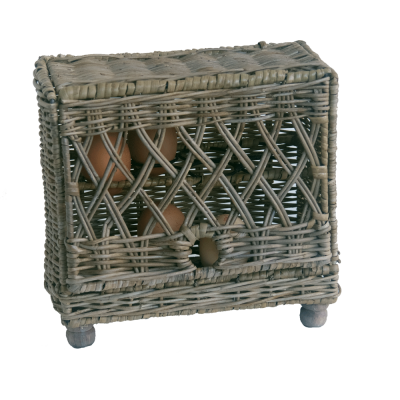 Grey Wicker Egg storage Basket for 16 eggs
