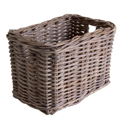 Greywash Rattan storage basket