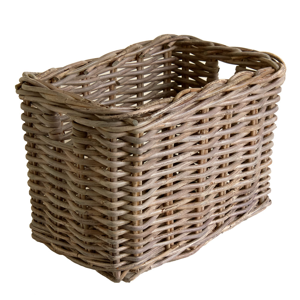 Grey Wicker Basket Uk : Small grey wicker storage basket