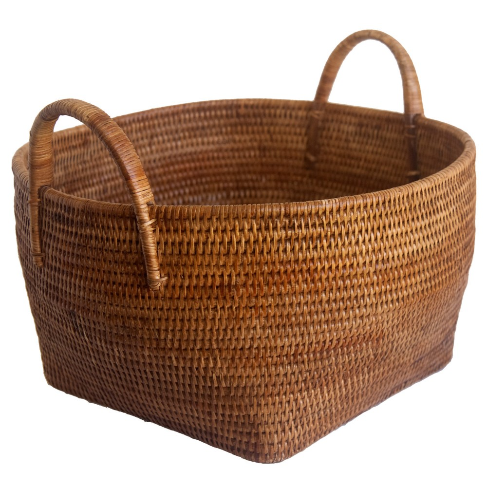 short round wicker storage from Burma