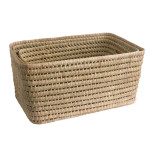 oblong storage in woven palm