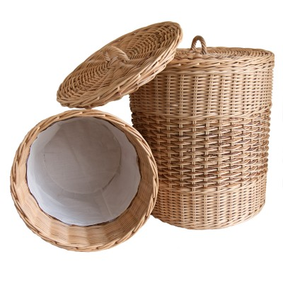 Wicker Laundry baskets lined with calico