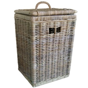 Grey Rattan Linen Basket