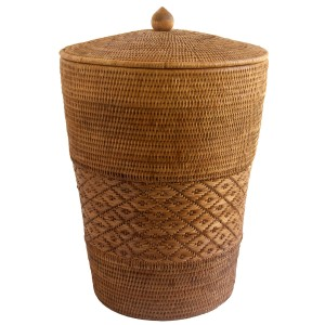 Golden Rattan patterned linen Basket