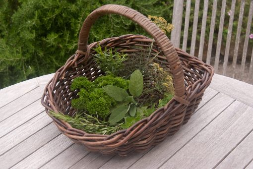 small wicker garden trug
