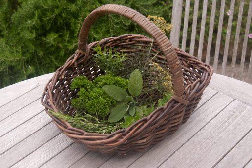 small wicker garden trug