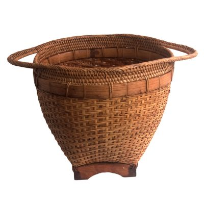Small Round Bamboo Laundry Basket