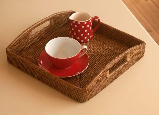 square rattan tray