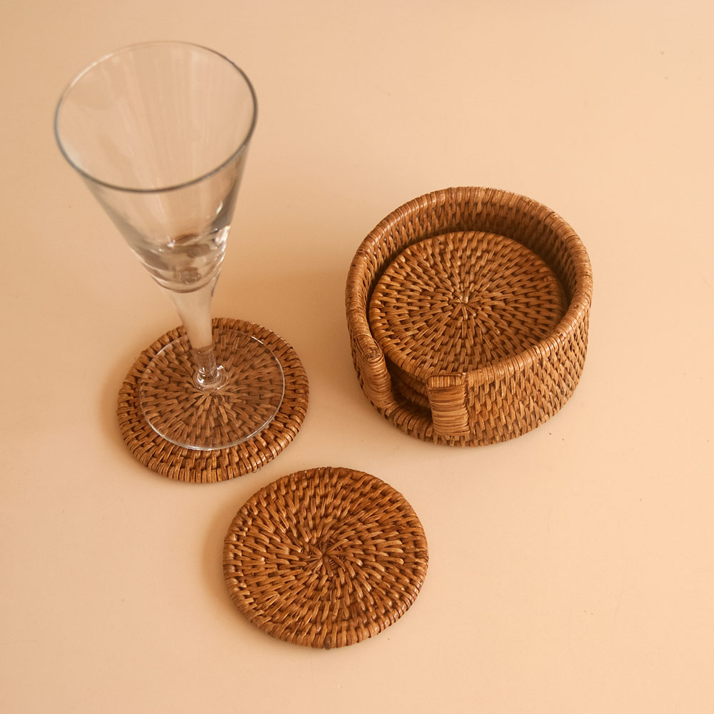round woven coasters