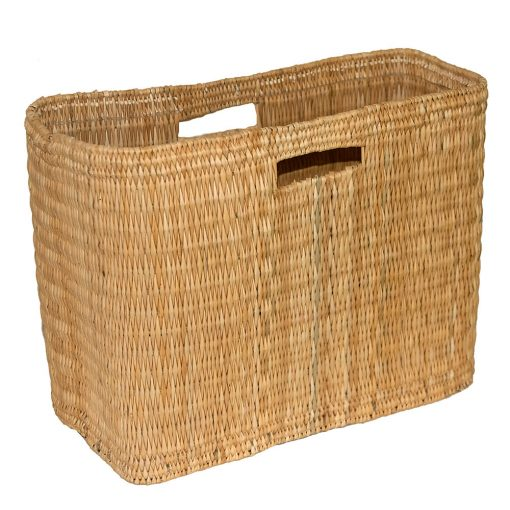 Oblong Bulrush Storage Basket with Cut-out Handles in 2 sizes