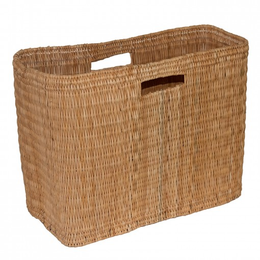 Oblong Bulrush Storage Basket with Cut-out Handles