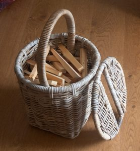 wicker kindling basket