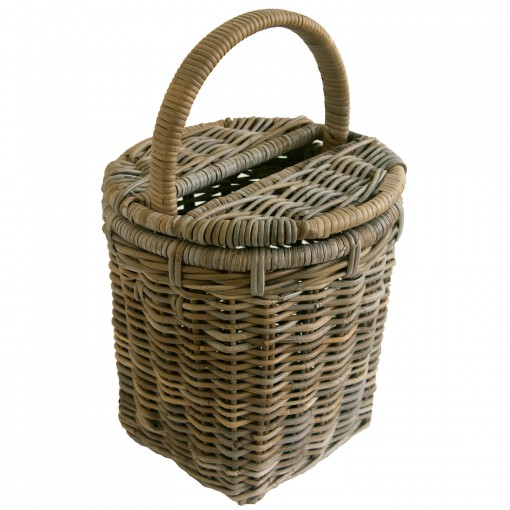 Round Grey Rattan Kindling Basket
