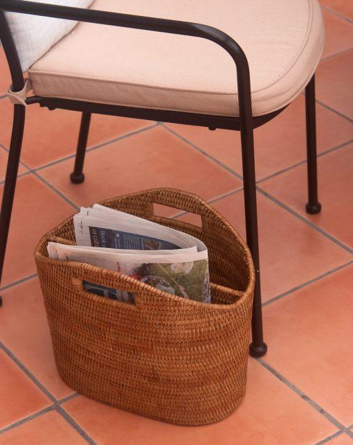 wicker magazine storage