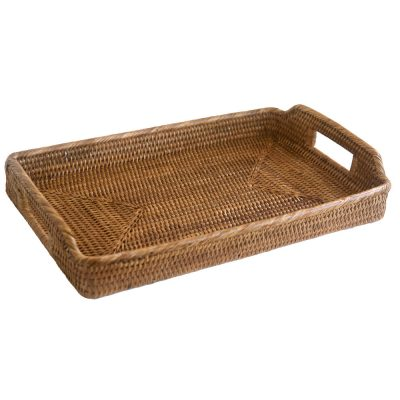 oblong wicker serving tray