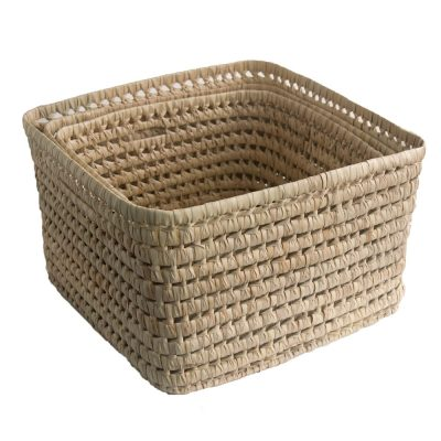 square storage in woven palm