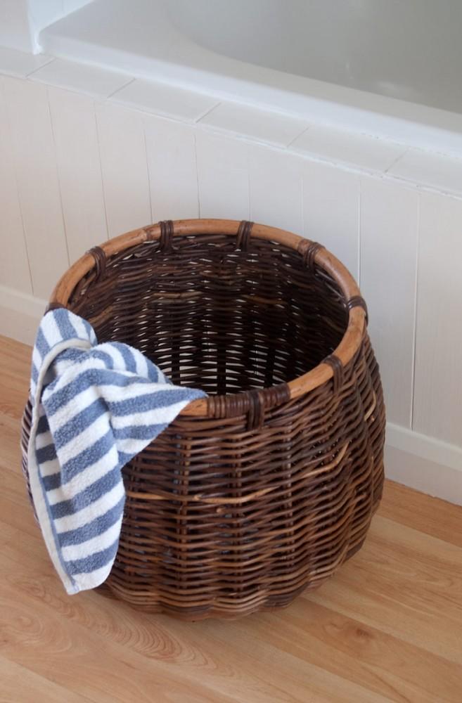 dark rattan storage basket
