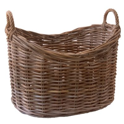 Oval Grey Storage or Log Basket