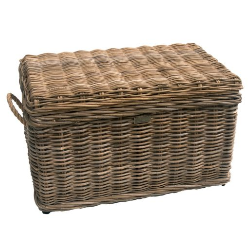 Grey Rope-handled Wicker Trunk