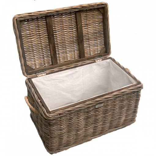 grey wicker storage chest