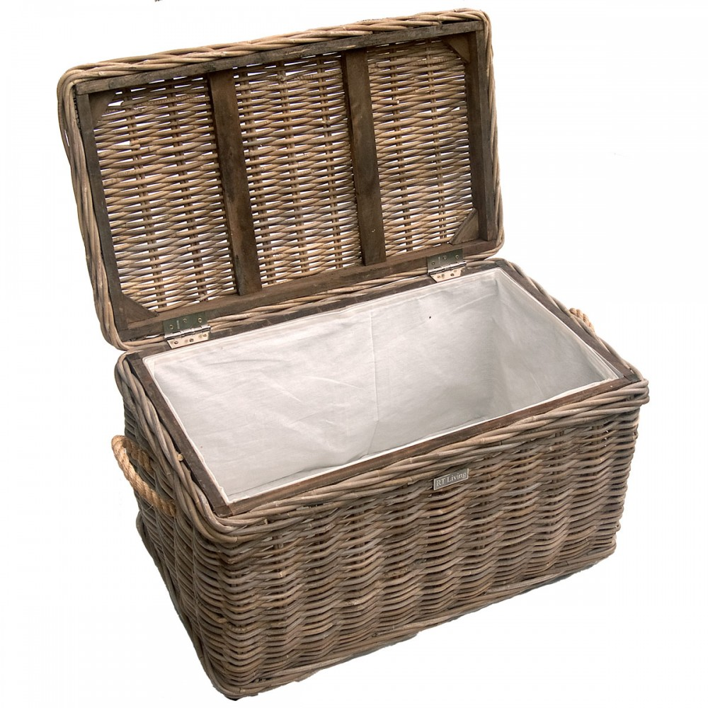 Grey Rope Handled Wicker Trunk