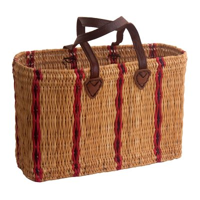 Two-tone Bullrush Striped Shopping Basket