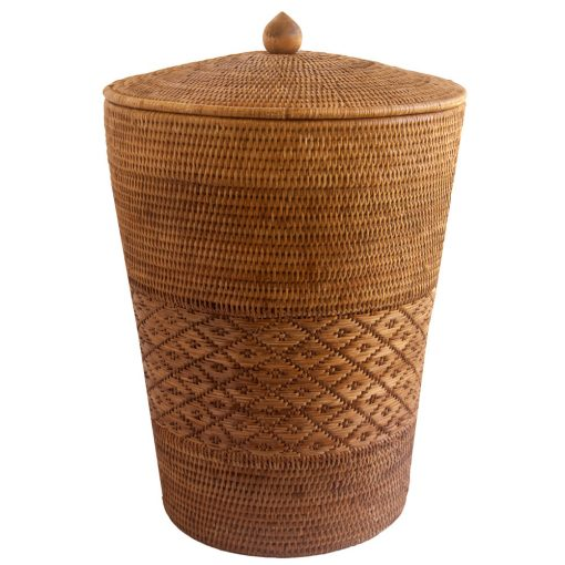 patterned linen basket from Burma