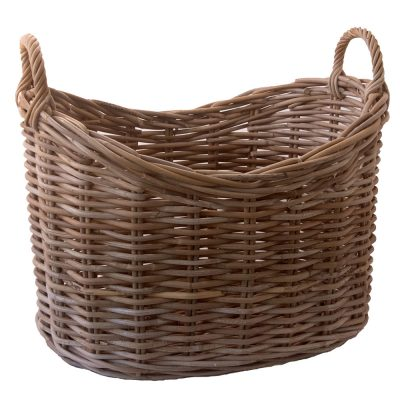 oval greywash wicker storage basket