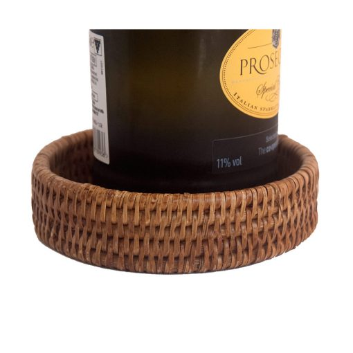woven wicker bottle coaster