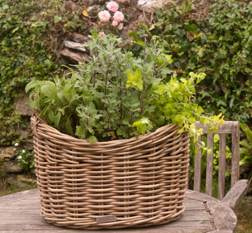grey wicker planters