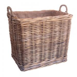 grey lined wicker log basket