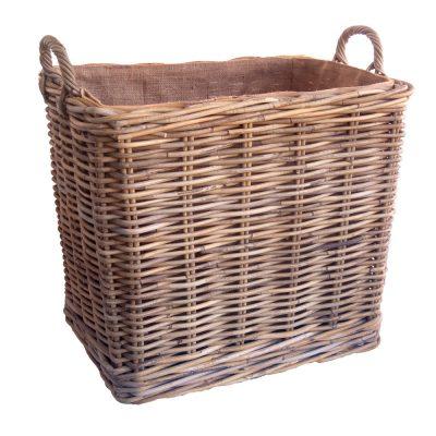 grey lined wheeled wicker log basket