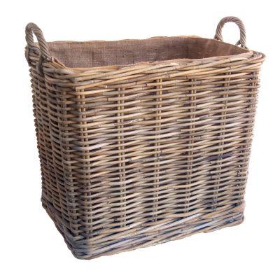 Tall Oblong Lined Wheeled Log Basket