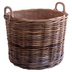 Round Rattan Log Basket with wheels