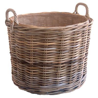 Wicker log basket with wheels