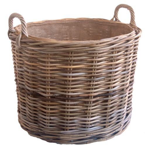Round Lined Wheeled Log Basket
