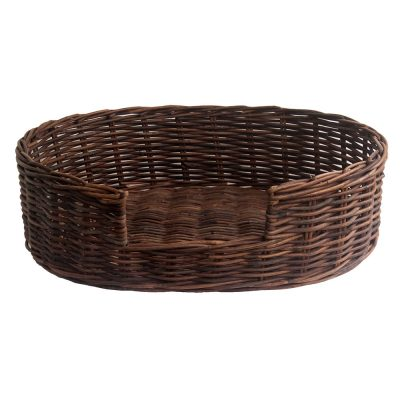Dark Wicker Dog Basket